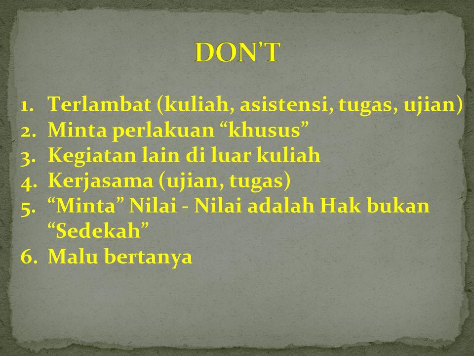 DON'T Terlambat (kuliah, asistensi, tugas, ujian)