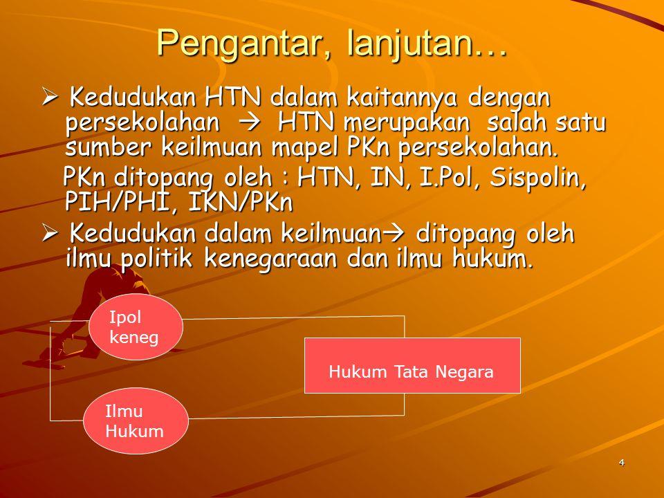 Pengantar, lanjutan…  Kedudukan HTN dalam kaitannya dengan persekolahan  HTN merupakan salah satu sumber keilmuan mapel PKn persekolahan.