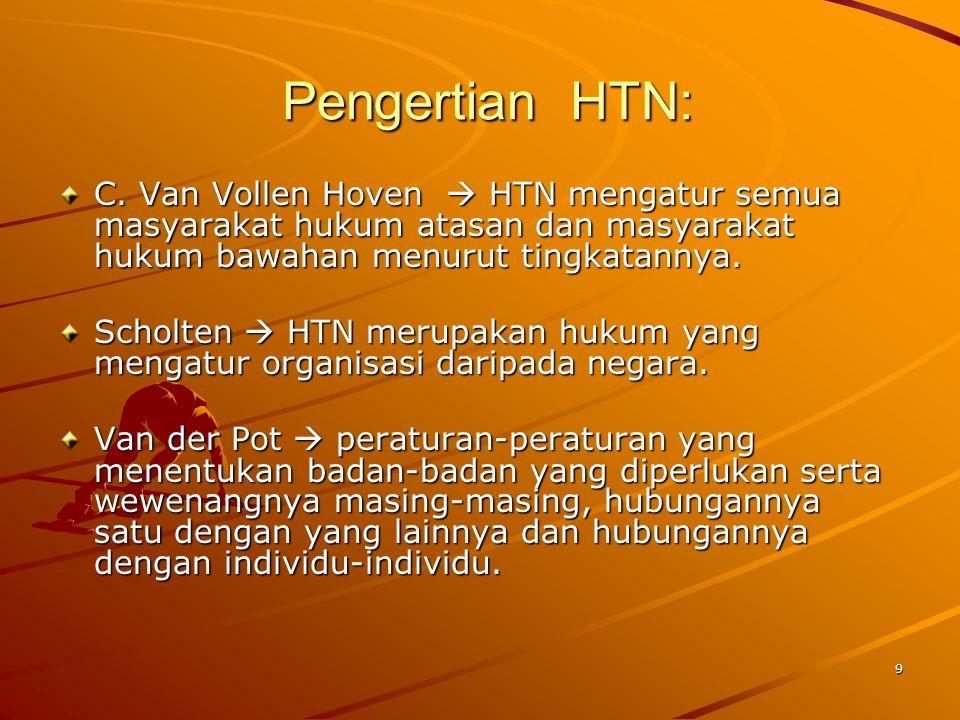Pengertian HTN: C. Van Vollen Hoven  HTN mengatur semua masyarakat hukum atasan dan masyarakat hukum bawahan menurut tingkatannya.