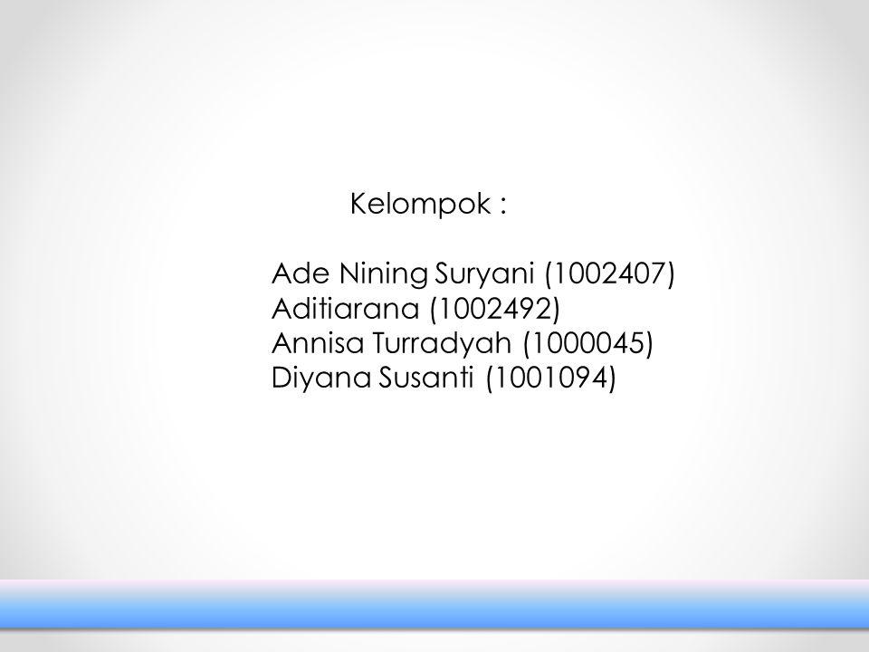 Kelompok : Ade Nining Suryani (1002407) Aditiarana (1002492) Annisa Turradyah (1000045) Diyana Susanti (1001094)