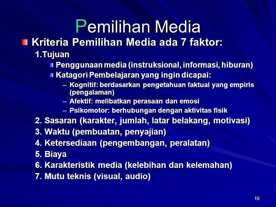 Pemilihan Media Kriteria Pemilihan Media ada 7 faktor: 1.Tujuan