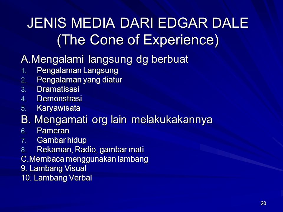 JENIS MEDIA DARI EDGAR DALE (The Cone of Experience)