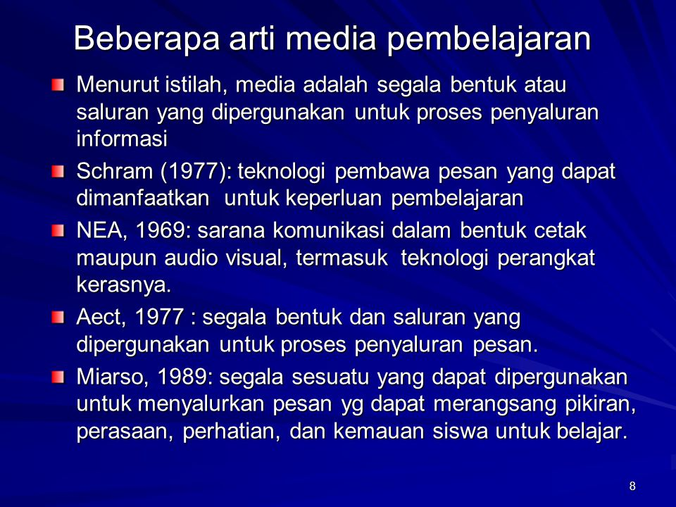 Beberapa arti media pembelajaran