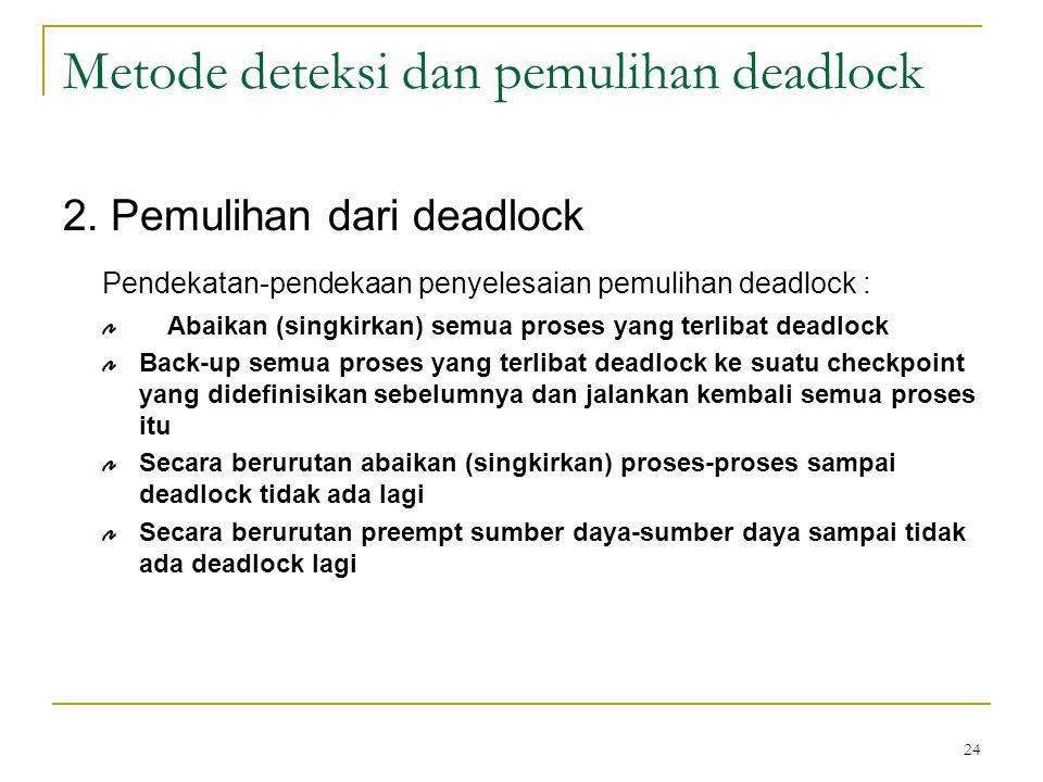 Metode deteksi dan pemulihan deadlock