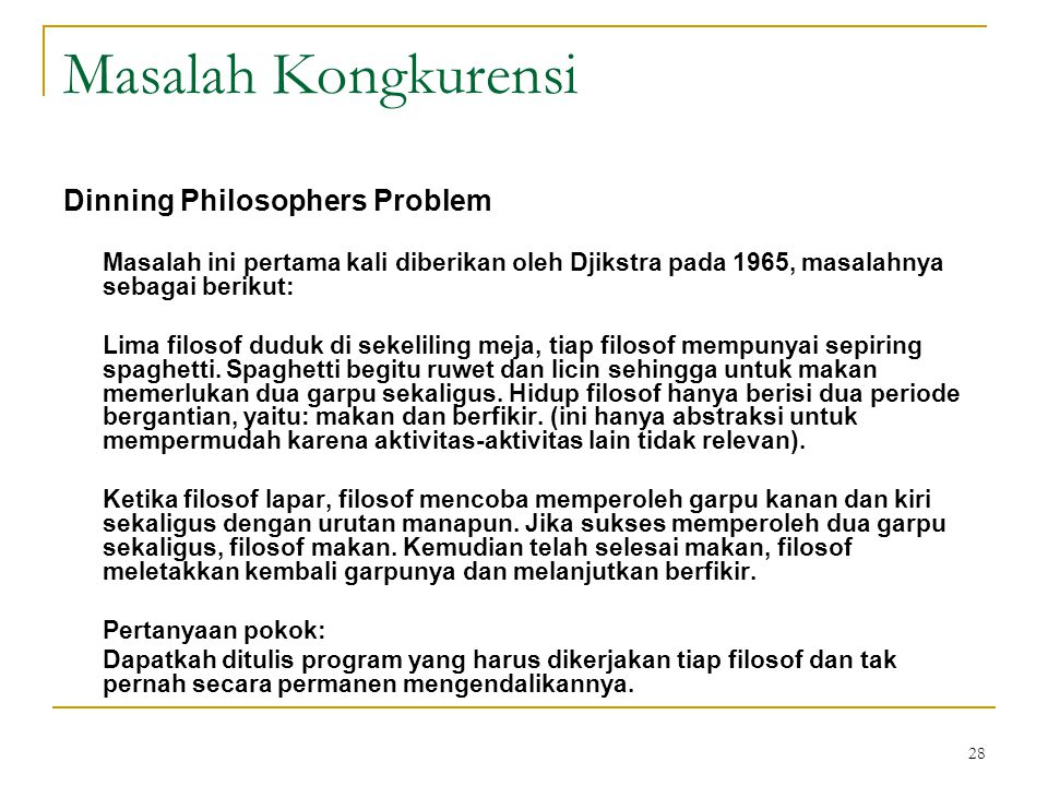 Masalah Kongkurensi Dinning Philosophers Problem