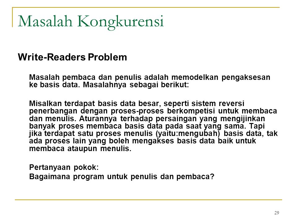 Masalah Kongkurensi Write-Readers Problem