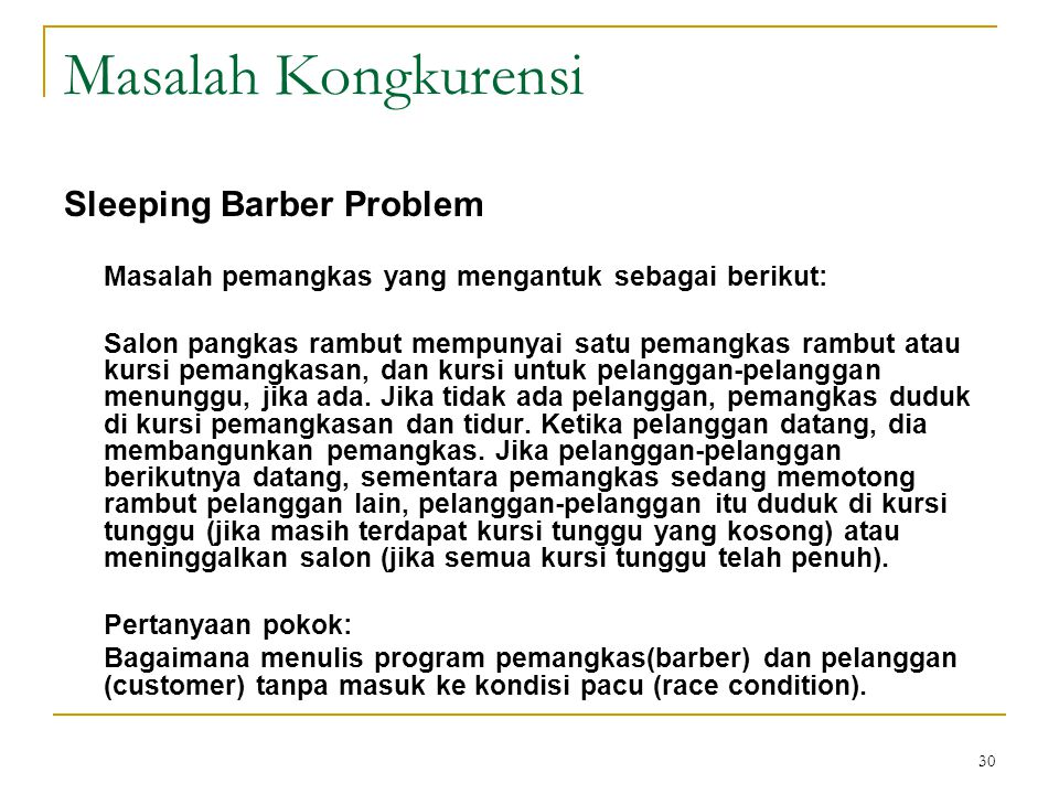 Masalah Kongkurensi Sleeping Barber Problem