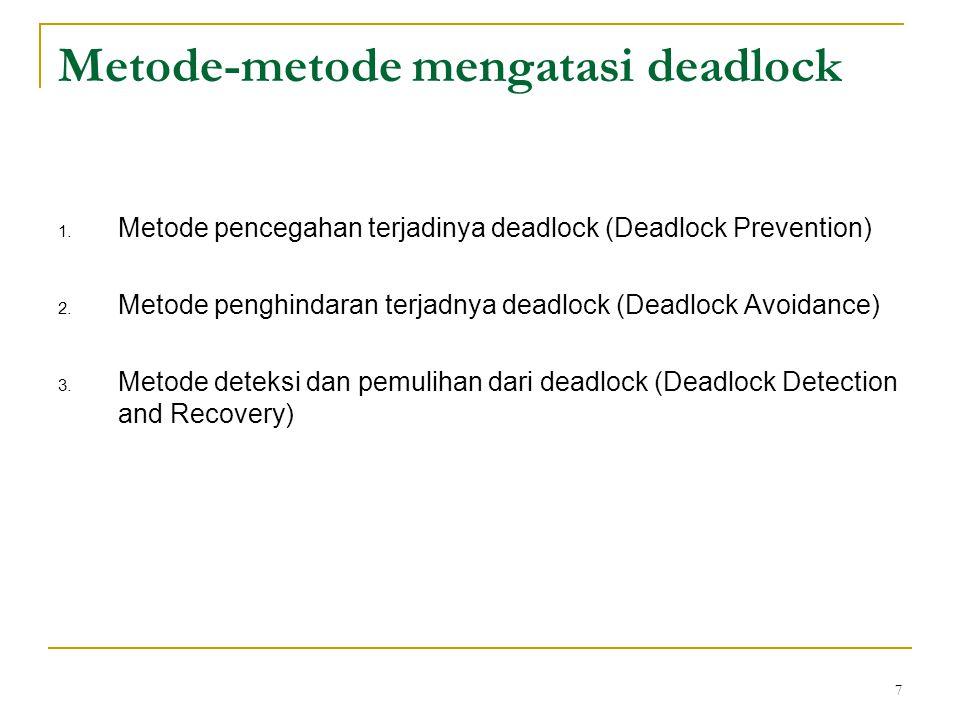 Metode-metode mengatasi deadlock