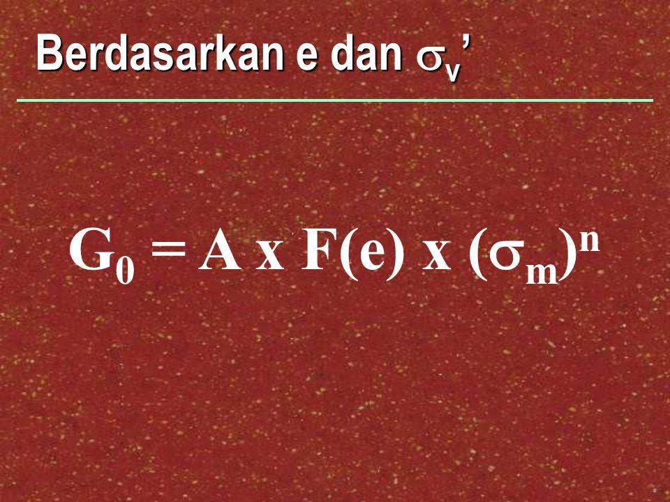 Berdasarkan e dan sv' G0 = A x F(e) x (sm)n
