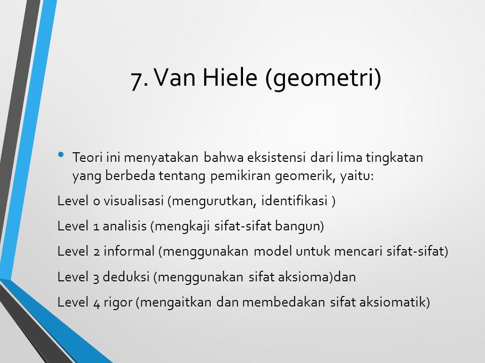 7. Van Hiele (geometri) Teori ini menyatakan bahwa eksistensi dari lima tingkatan yang berbeda tentang pemikiran geomerik, yaitu: