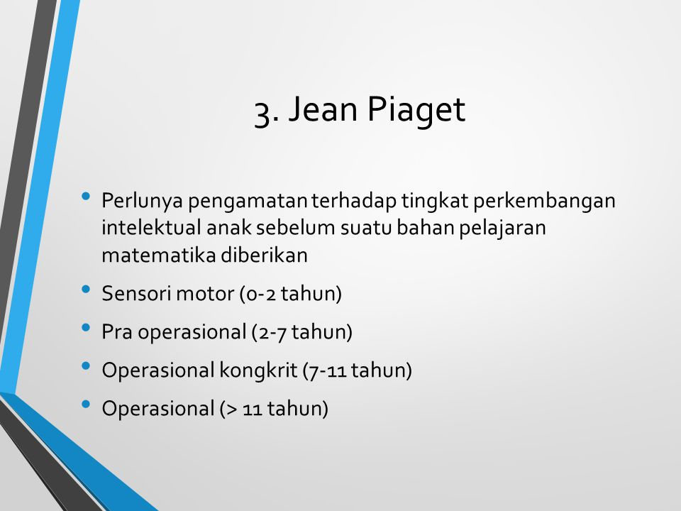 3. Jean Piaget Perlunya pengamatan terhadap tingkat perkembangan intelektual anak sebelum suatu bahan pelajaran matematika diberikan.