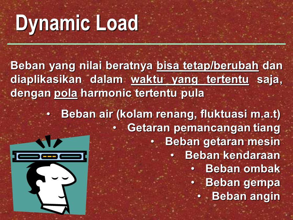 Dynamic Load Beban yang nilai beratnya bisa tetap/berubah dan diaplikasikan dalam waktu yang tertentu saja, dengan pola harmonic tertentu pula.