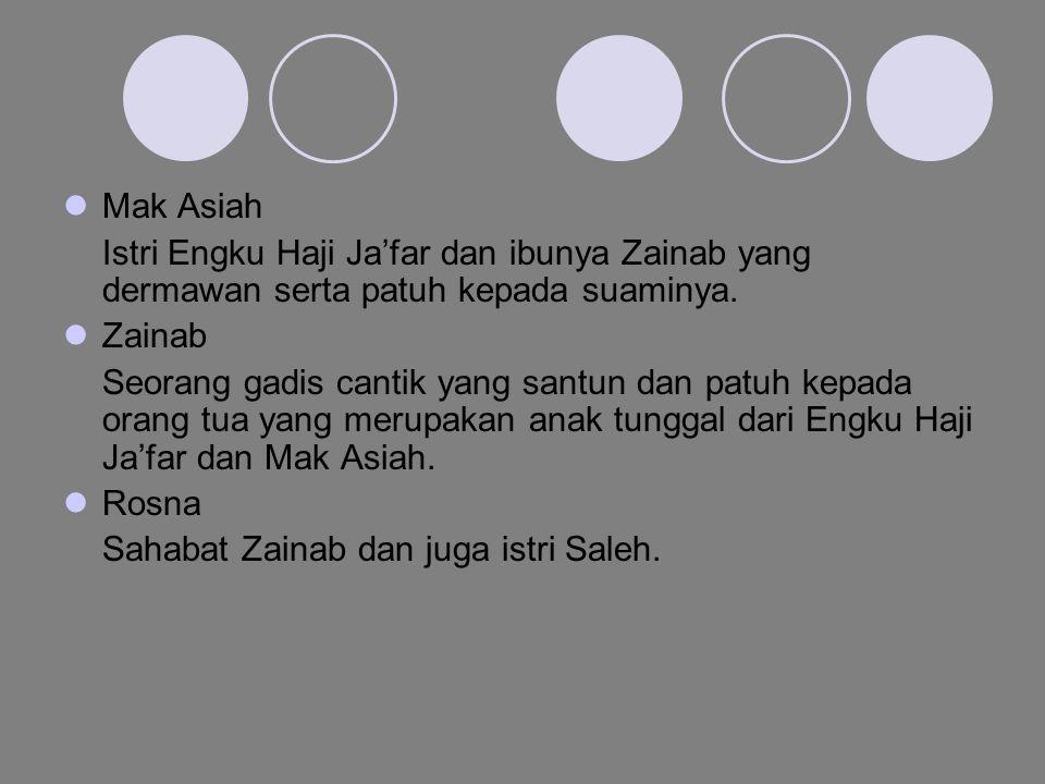 Mak Asiah Istri Engku Haji Ja'far dan ibunya Zainab yang dermawan serta patuh kepada suaminya. Zainab.