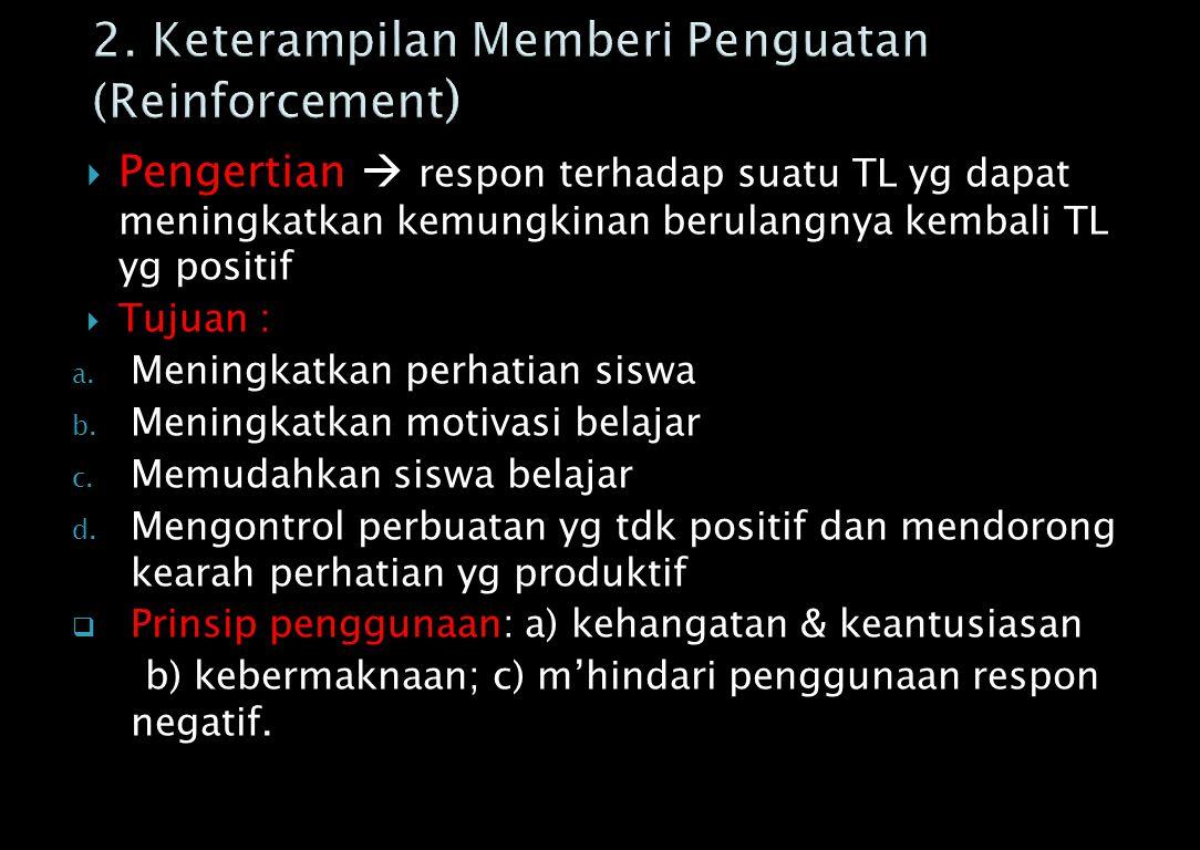 2. Keterampilan Memberi Penguatan (Reinforcement)