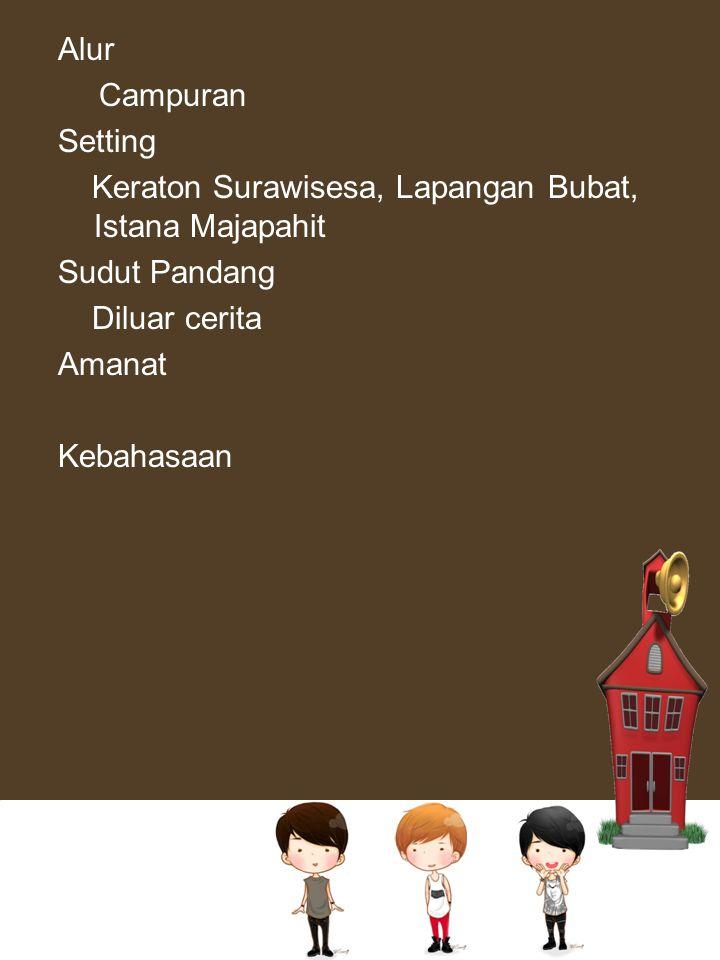 Alur Campuran Setting Keraton Surawisesa, Lapangan Bubat, Istana Majapahit Sudut Pandang Diluar cerita Amanat Kebahasaan