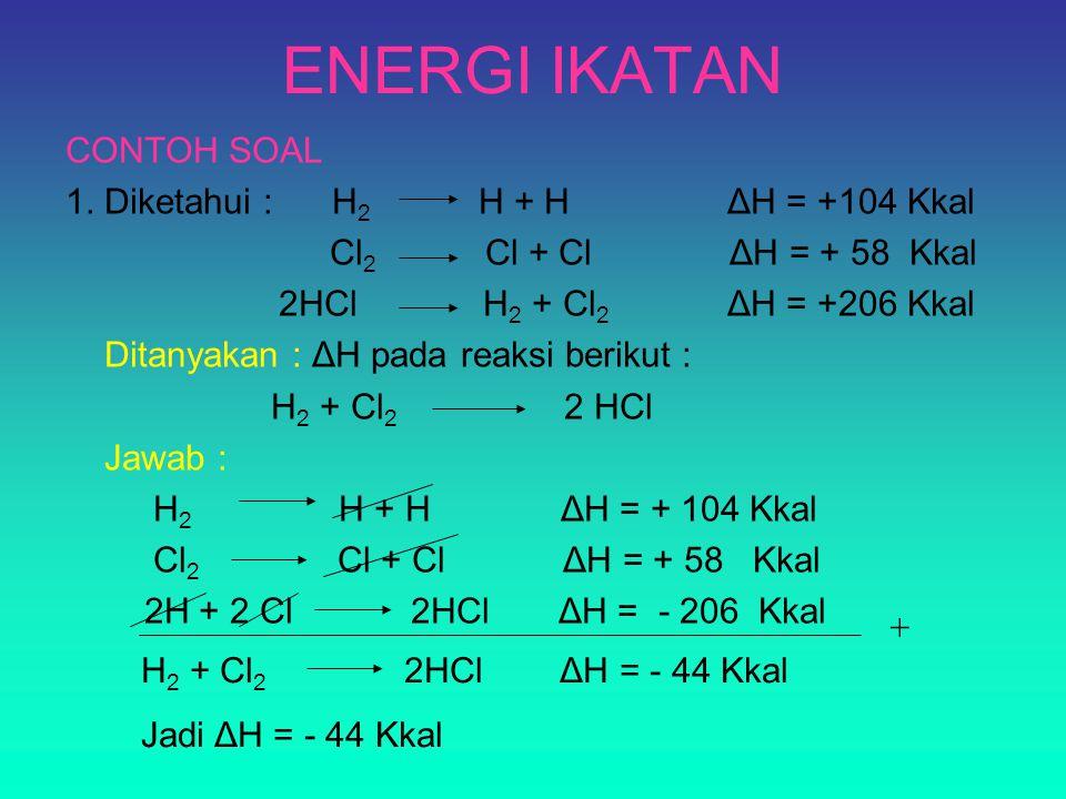 ENERGI IKATAN CONTOH SOAL 1. Diketahui : H2 H + H ΔH = +104 Kkal