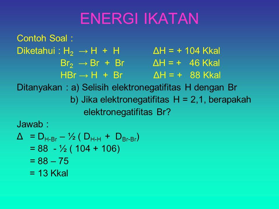 ENERGI IKATAN Contoh Soal : Diketahui : H2 → H + H ΔH = + 104 Kkal