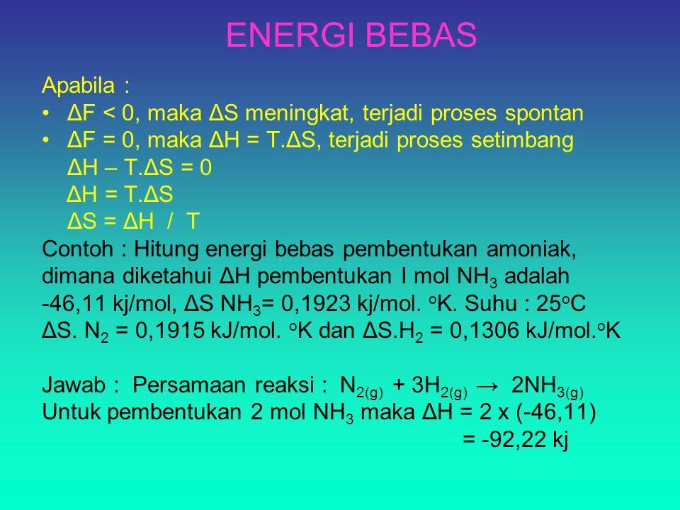 ENERGI BEBAS Apabila : ΔF < 0, maka ΔS meningkat, terjadi proses spontan. ΔF = 0, maka ΔH = T.ΔS, terjadi proses setimbang.