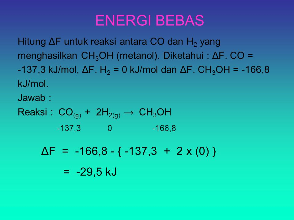 ENERGI BEBAS ΔF = -166,8 - { -137,3 + 2 x (0) } = -29,5 kJ