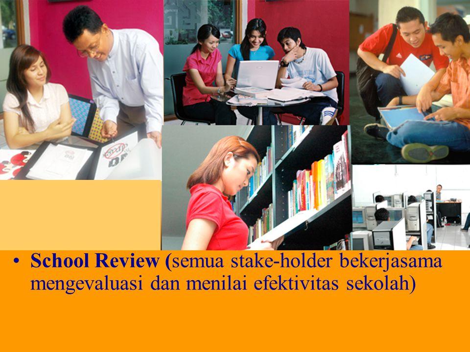 School Review (semua stake-holder bekerjasama mengevaluasi dan menilai efektivitas sekolah)