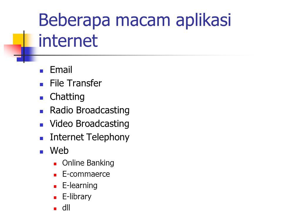 Beberapa macam aplikasi internet