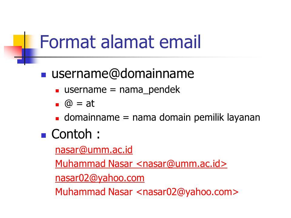 Format alamat email username@domainname Contoh :