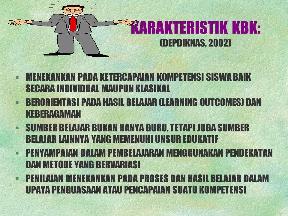 KARAKTERISTIK KBK: (DEPDIKNAS, 2002)