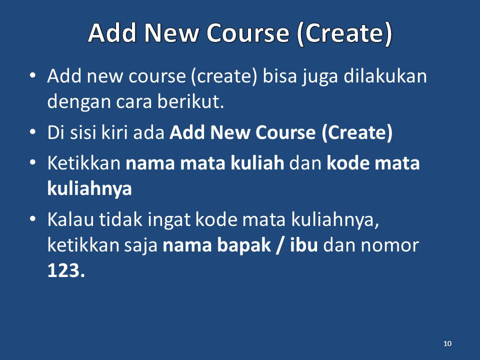 Add New Course (Create)