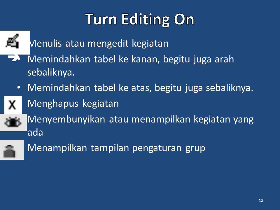 Turn Editing On  Menulis atau mengedit kegiatan