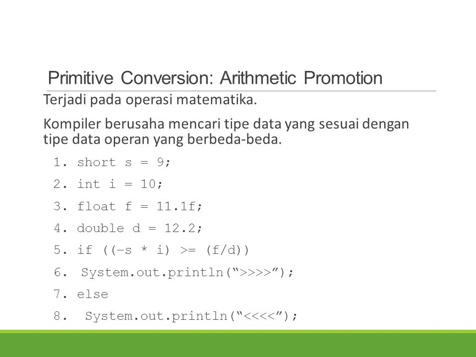 Primitive Conversion: Arithmetic Promotion