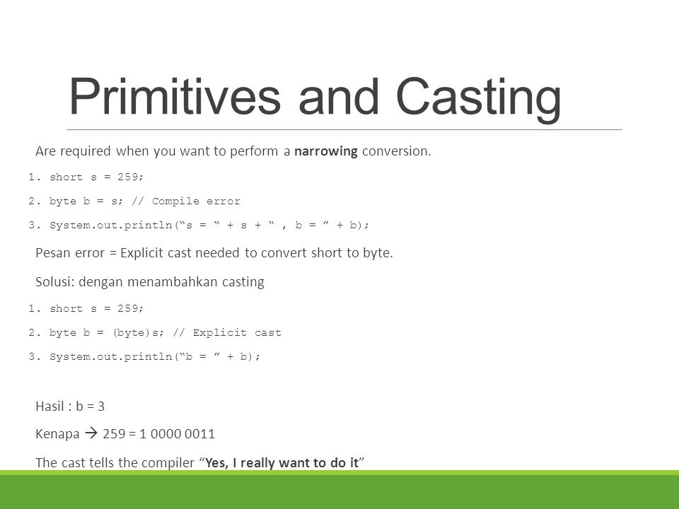 Primitives and Casting