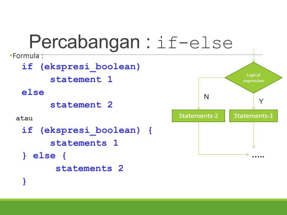 Percabangan : if-else if (ekspresi_boolean) statement 1 else