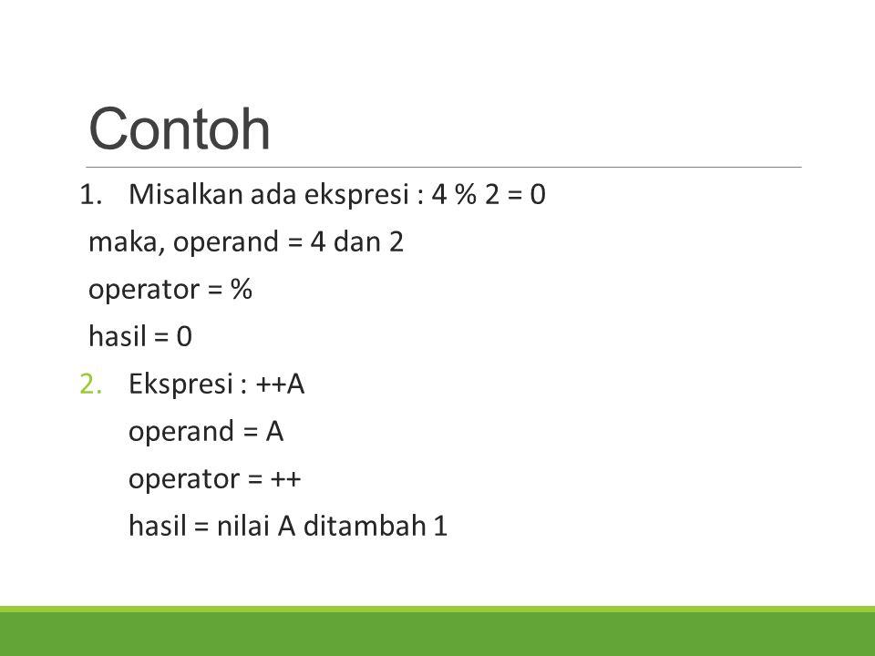 Contoh 1. Misalkan ada ekspresi : 4 % 2 = 0 maka, operand = 4 dan 2