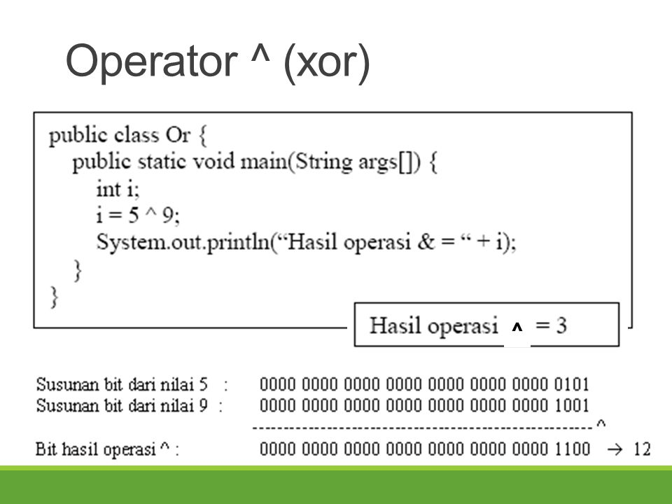 Operator ^ (xor) ^