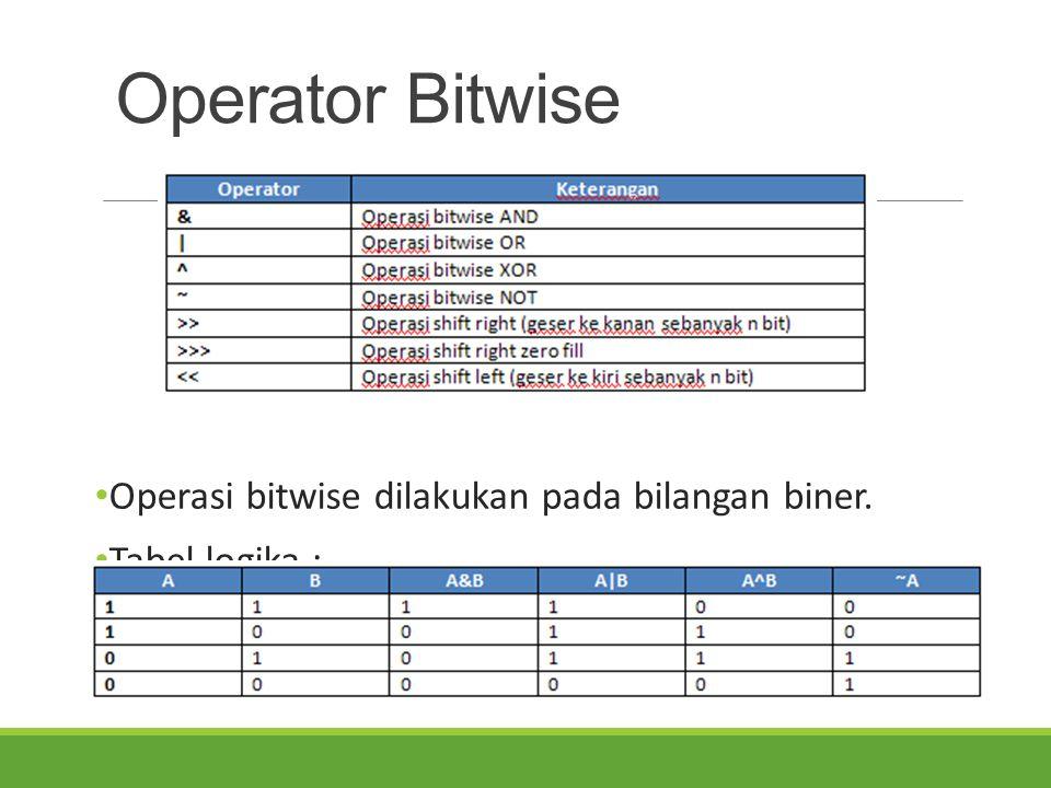 Operator Bitwise Operasi bitwise dilakukan pada bilangan biner.
