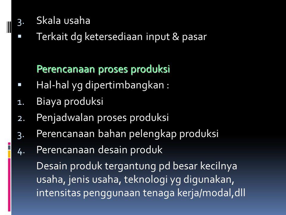 Skala usaha Terkait dg ketersediaan input & pasar. Perencanaan proses produksi. Hal-hal yg dipertimbangkan :