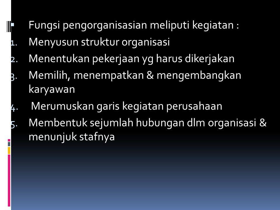 Fungsi pengorganisasian meliputi kegiatan :