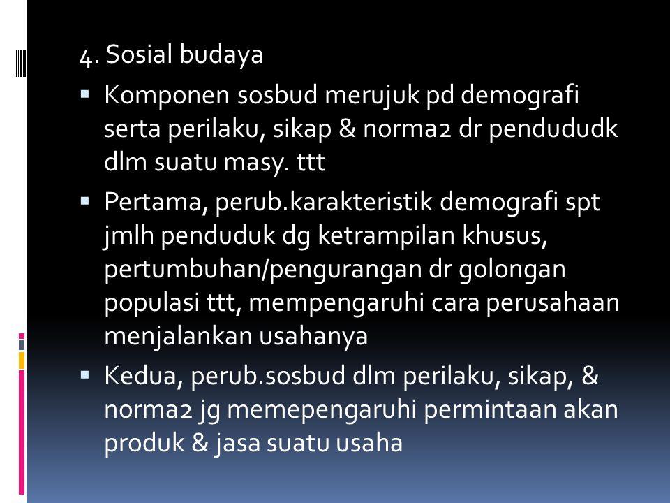 4. Sosial budaya Komponen sosbud merujuk pd demografi serta perilaku, sikap & norma2 dr pendududk dlm suatu masy. ttt.