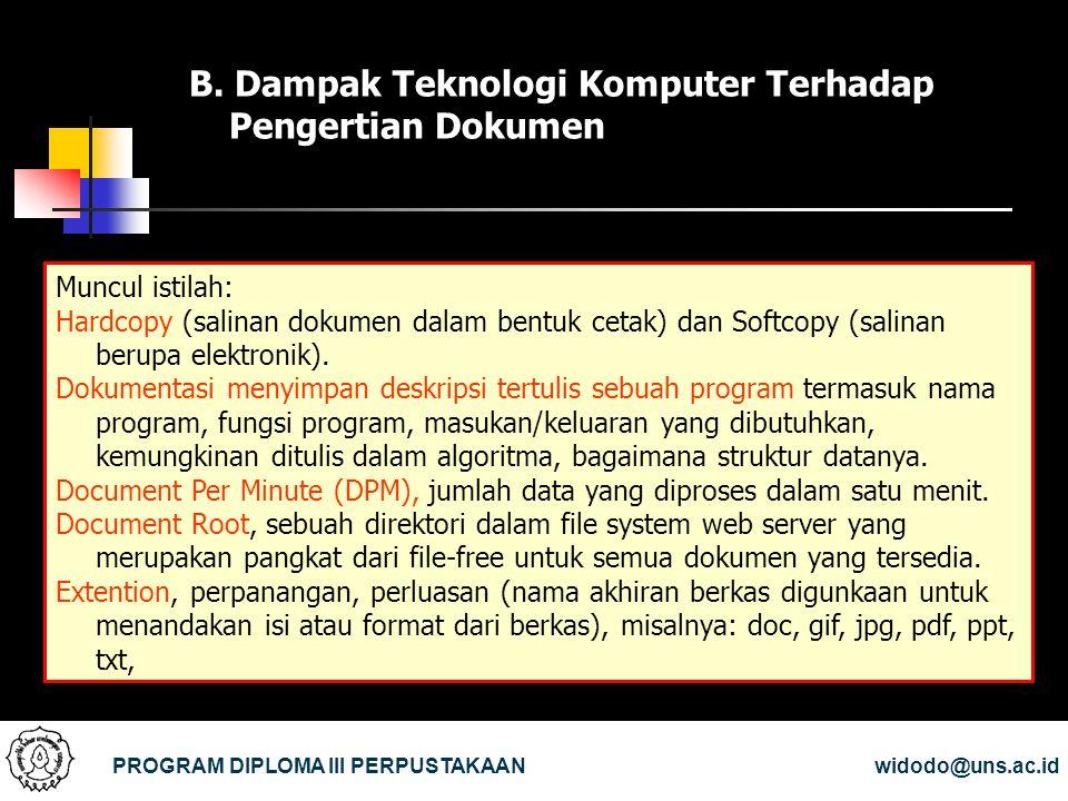 B. Dampak Teknologi Komputer Terhadap Pengertian Dokumen