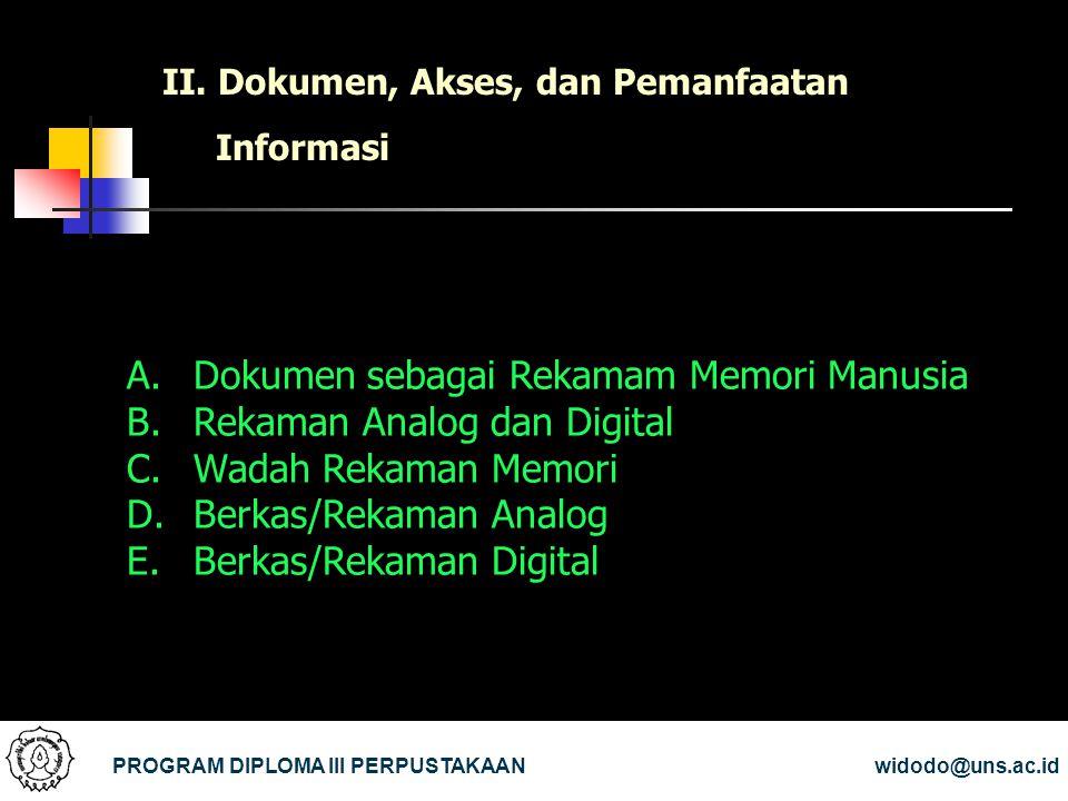 II. Dokumen, Akses, dan Pemanfaatan Informasi