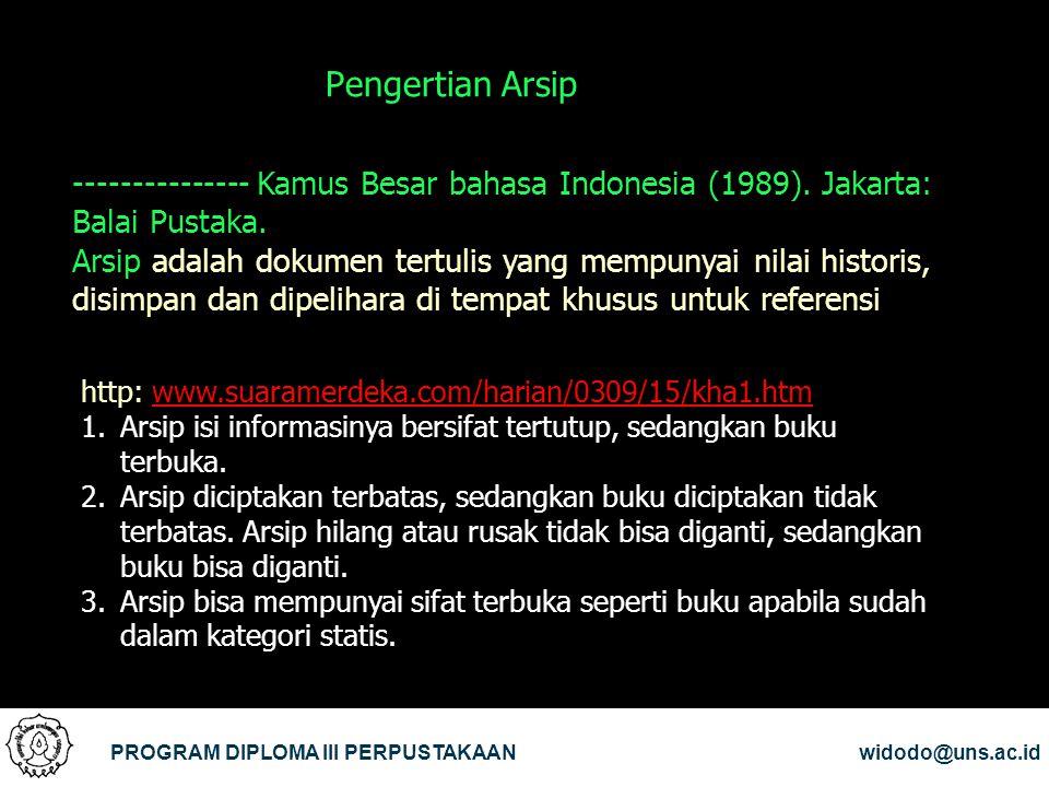 Pengertian Arsip --------------- Kamus Besar bahasa Indonesia (1989). Jakarta: Balai Pustaka.