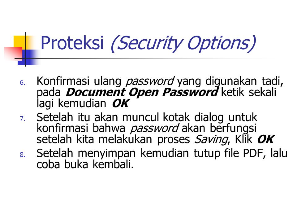 Proteksi (Security Options)