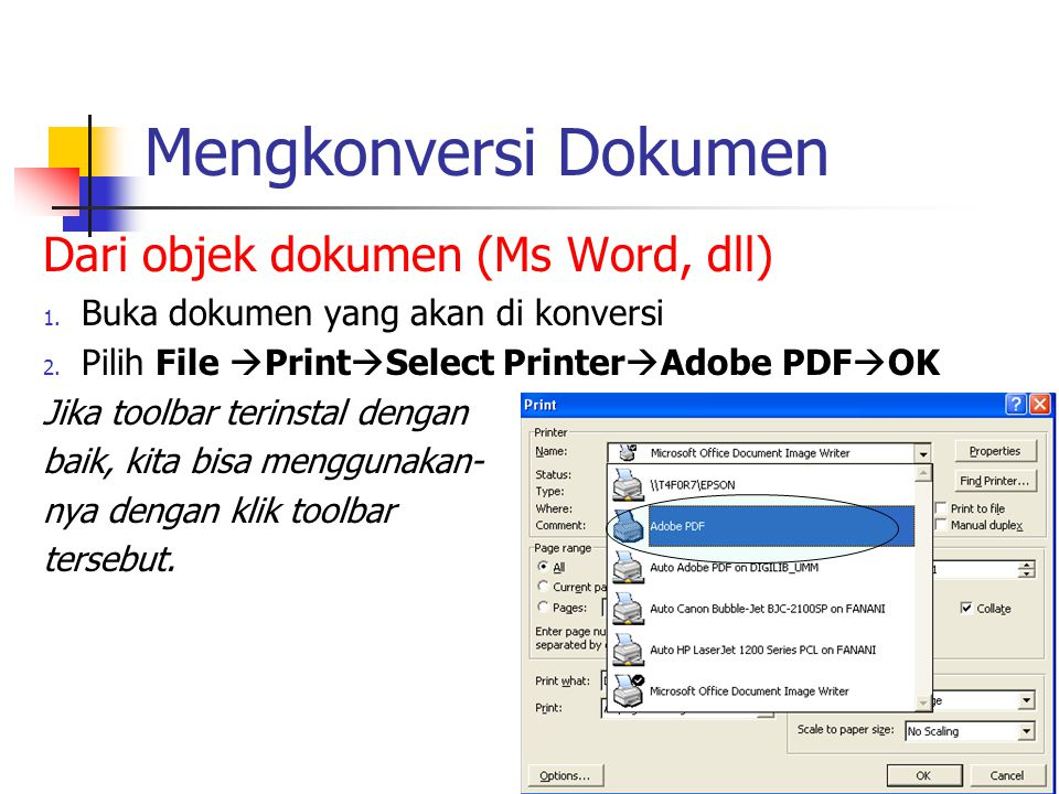 Mengkonversi Dokumen Dari objek dokumen (Ms Word, dll)