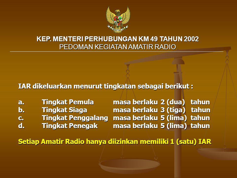 KEP. MENTERI PERHUBUNGAN KM 49 TAHUN 2002 PEDOMAN KEGIATAN AMATIR RADIO
