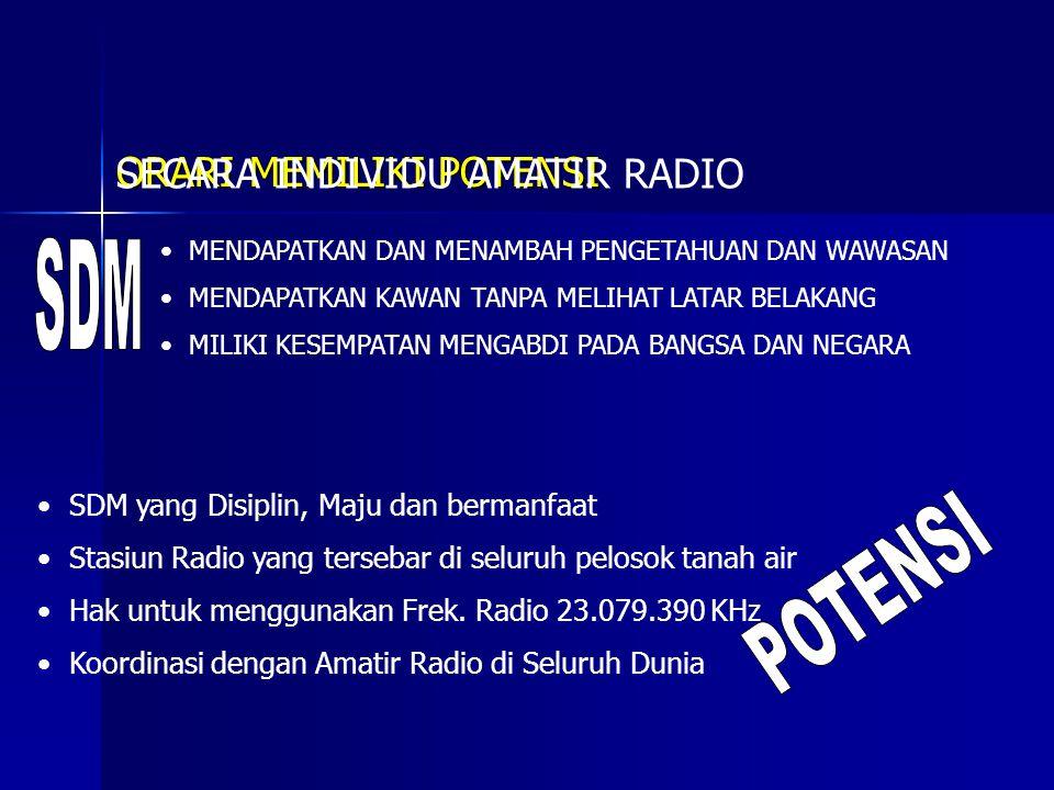 SDM POTENSI ORARI MEMILIKI POTENSI SECARA INDIVIDU AMATIR RADIO