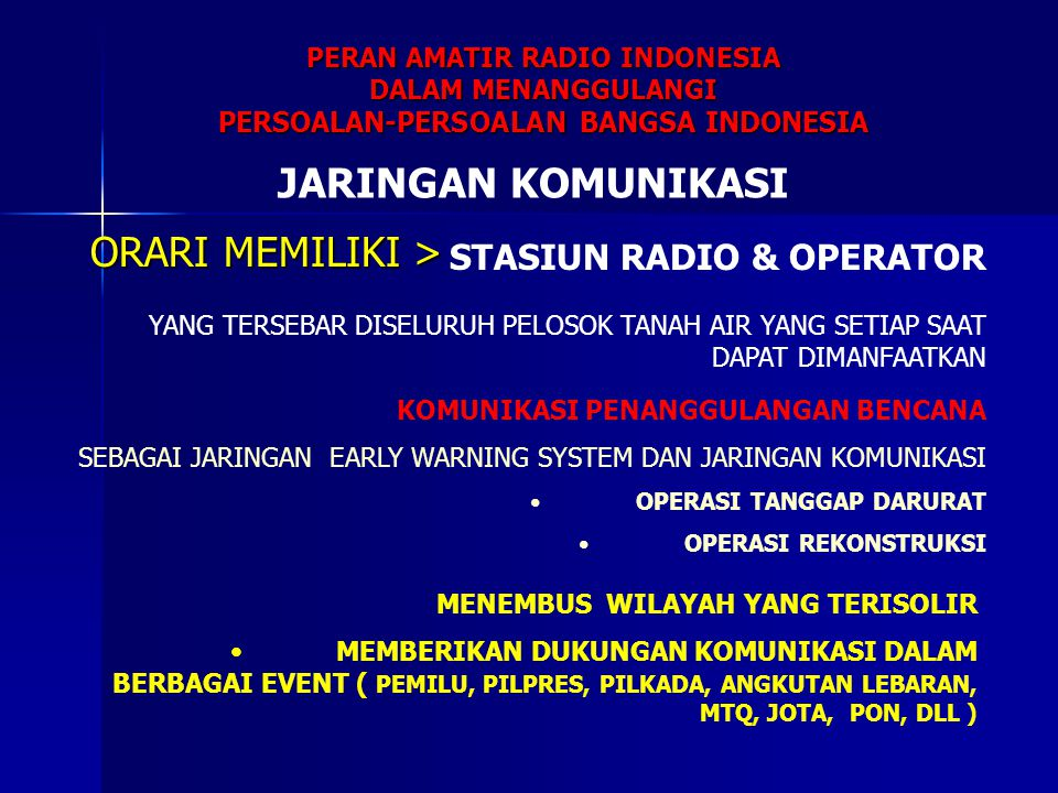 PERAN AMATIR RADIO INDONESIA PERSOALAN-PERSOALAN BANGSA INDONESIA
