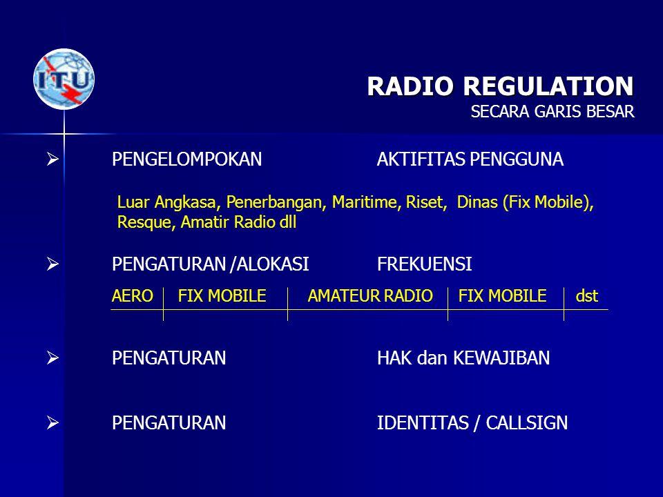 RADIO REGULATION PENGELOMPOKAN AKTIFITAS PENGGUNA