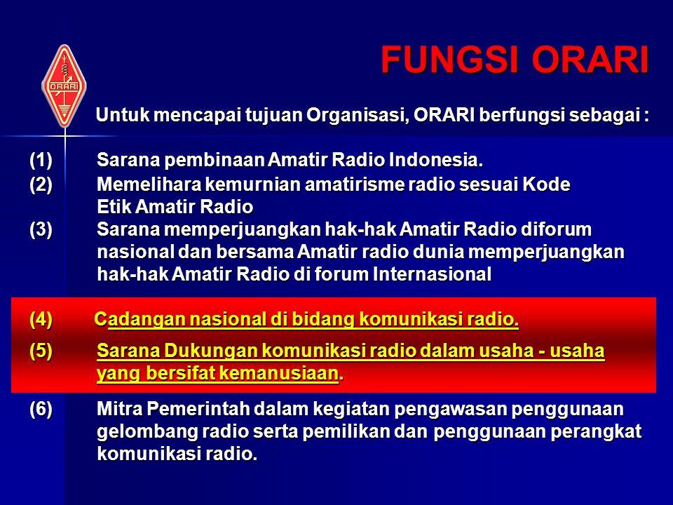 FUNGSI ORARI Untuk mencapai tujuan Organisasi, ORARI berfungsi sebagai : Sarana pembinaan Amatir Radio Indonesia.