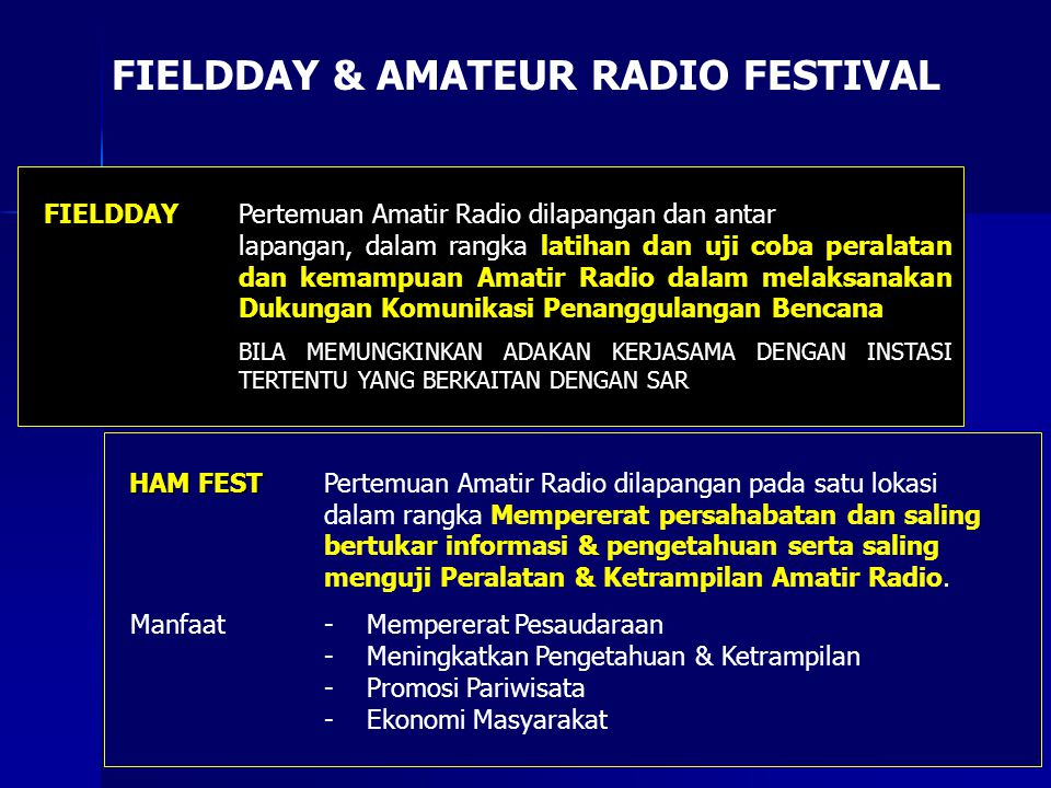 FIELDDAY & AMATEUR RADIO FESTIVAL