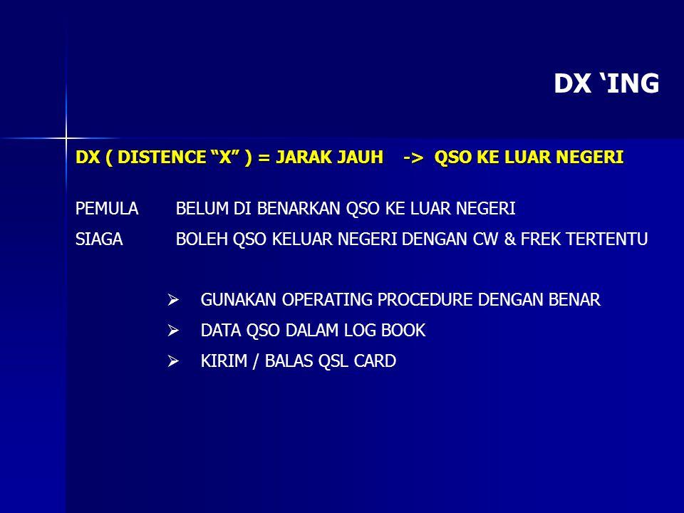 DX 'ING DX ( DISTENCE X ) = JARAK JAUH -> QSO KE LUAR NEGERI